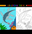 cartoon plesiosaurus coloring book vector image vector image