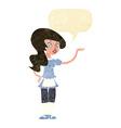 cartoon waitress with speech bubble vector image vector image