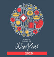 chinese new year greeting card lantern and fan vector image vector image