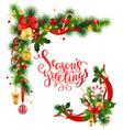christmas corner design vector image vector image