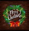 christmas wreath on brick wall vector image