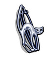 chrome plated metal brooch in the shape of a cat vector image
