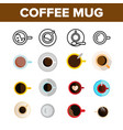 coffee mugs top view color icons set vector image