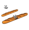 Crusty long cartoon French baguette vector image vector image