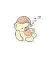 cute sleeping teddy bear making zzz sound doodle vector image