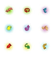 Direction icons set pop-art style