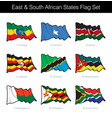 east and south african states waving flag set vector image vector image