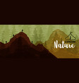 explore nature banner people hiking mountain vector image