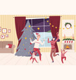 family wearing holiday attributes dancing near the vector image vector image