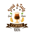 Fresh and tasty coffee fast food label vector image vector image