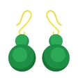 Green earrings beautiful accessory isolated vector image vector image