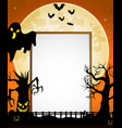 halloween sign with black ghost and flying bats an vector image
