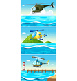 Helicopter flying over the ocean vector image vector image