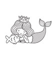little lying dreamy princess mermaid with fish vector image vector image