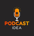 logo or icon podcast with idea or lamp graphic vector image vector image