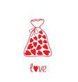 Love bag with hearts inside Card vector image vector image