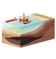 low poly offshore oil rig drilling platform vector image vector image