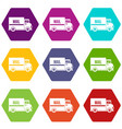 mail truck icon set color hexahedron vector image vector image