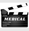 medical clapperboard vector image vector image