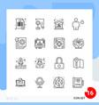 modern pack 16 icons line outline symbols vector image vector image