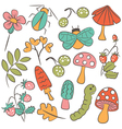 Nature colorful collection of childish characters vector image vector image