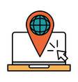 online education laptop world navigation pointer vector image