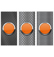 orange glass button on metal perforated background vector image vector image