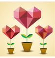 Origami hearts vector image
