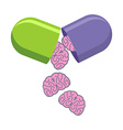 Pill with brains Tablet for mind Medical drug to vector image vector image