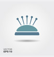 pin cushion with pins icon flat vector image