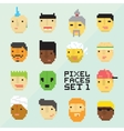 Pixel art style 15 cartoon avatar faces set vector image vector image