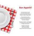 restaurant menu with plate and cutlery set on vector image