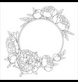 rose peony flowers roung wreath frame template vector image vector image