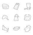scandinavian icons set outline style vector image vector image
