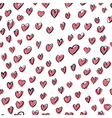 seamless hearts hand drawn pattern vector image vector image