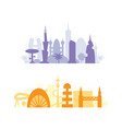 set city buildings silhouettes cityscape in vector image