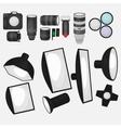 Set of photo studio equipment light soft camera vector image vector image