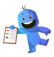 smiling blue cartoon caracter with a notepad on vector image vector image