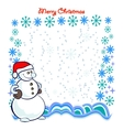 Snowman with Frame Composed of Snowflakes vector image vector image