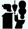 Toilet cubicle urinal and toilet paper vector image vector image