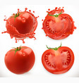 tomato juice fresh vegetable 3d realistic icon set vector image vector image