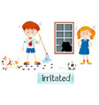 two children irritated scene vector image