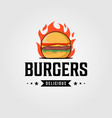 vintage hot burgers logo designs vector image