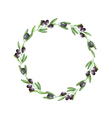 Watercolor olive branch wreath vector image vector image