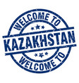 welcome to kazakhstan blue stamp vector image vector image