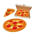 Whole pizza margherita in open white box and slice vector image vector image