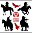 wild west silhouettes - native american warriors vector image