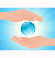 World in human hands vector image vector image