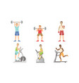 young men doing fitness exercises in gym set guys vector image vector image