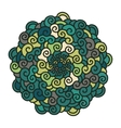 Hand drawn colorful curl Mandala isolated on white vector image
